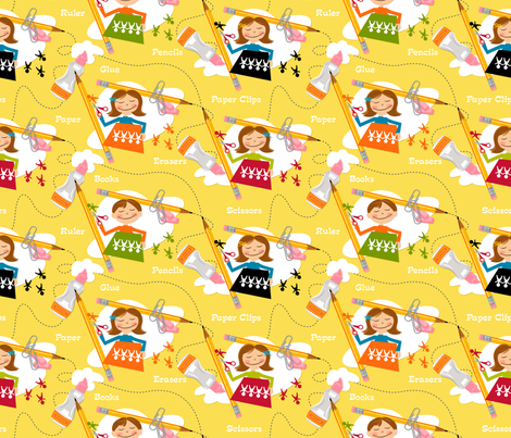 Accidents happen! ~ Yellow fabric by retrorudolphs on Spoonflower - custom fabric