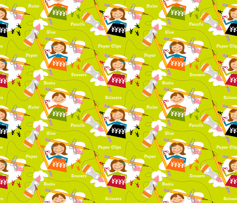 Accidents happen! ~ Green fabric by retrorudolphs on Spoonflower - custom fabric
