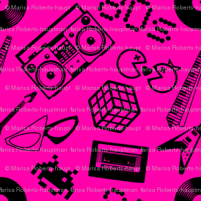 80s Designs 80s icons on hot pink giftwrap - risarocksit - spoonflower