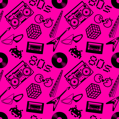 80s Icons On Hot Pink Wallpaper Risarocksit Spoonflower