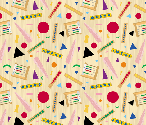 Montessori Materials and Symbols fabric by pkfridley on Spoonflower - custom fabric