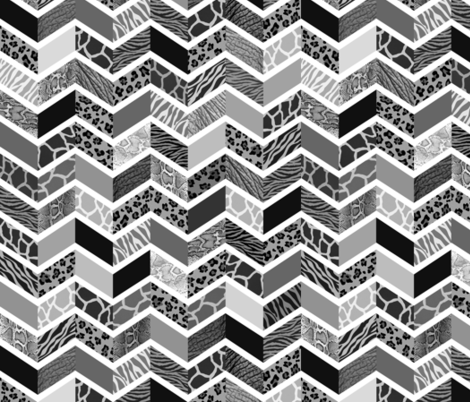 Animal Print Chevron - Black & White fabric by run_quiltgirl_run on Spoonflower - custom fabric