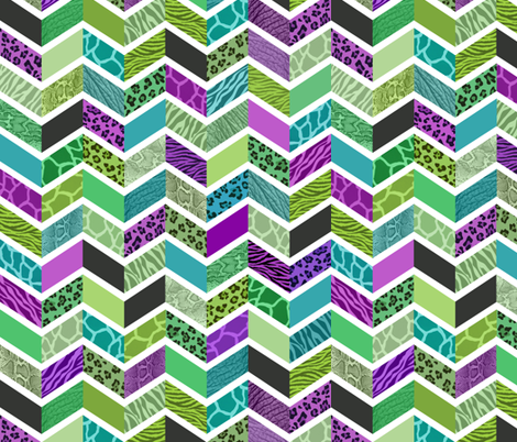 Animal Print Chevron - Jewel Tones fabric by run_quiltgirl_run on Spoonflower - custom fabric