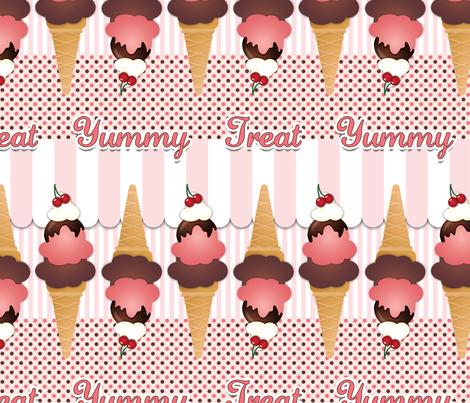 Pink Ice Cream Cones fabric by risarocksit on Spoonflower - custom fabric