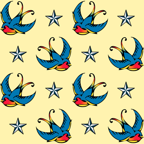 Swallow Tattoo fabric by risarocksit on Spoonflower - custom fabric