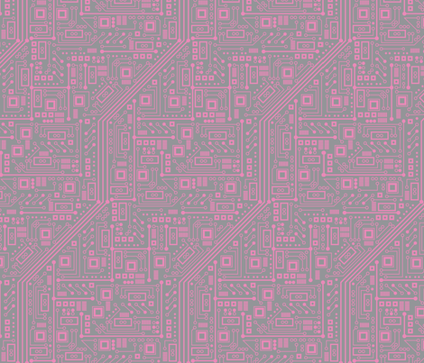 Robotika Circuit Board (Pink and Gray) fabric by robyriker on Spoonflower - custom fabric