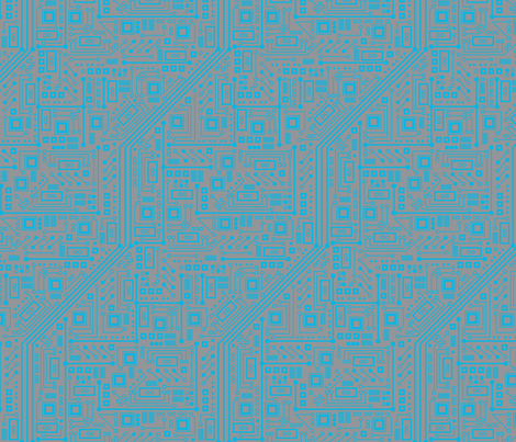 Robotika Circuit Board (Blue and Gray) fabric by robyriker on Spoonflower - custom fabric