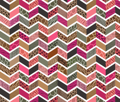Animal Print Chevron - City Girl Palette fabric by run_quiltgirl_run on Spoonflower - custom fabric