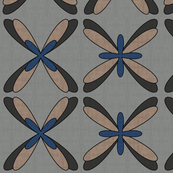 Abstract Dragonfly Floral (blue/black)