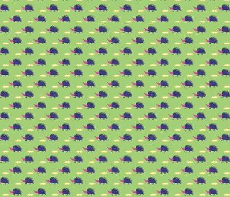 Hedgehogs on green fabric by solvejg on Spoonflower - custom fabric