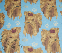 Yorkie faces and paws - blue