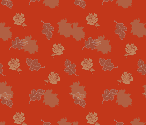 roses and oak leaves fabric by isabella_asratyan on Spoonflower - custom fabric