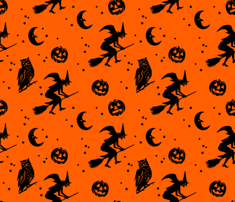 Bump in the night ~ Black on orange fabric by retrorudolphs on Spoonflower - custom fabric