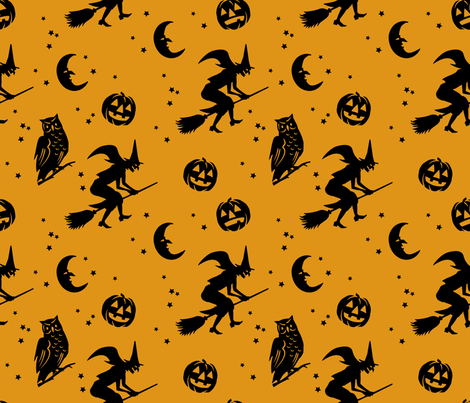 Bump in the night ~ Black on antique gold fabric by retrorudolphs on Spoonflower - custom fabric