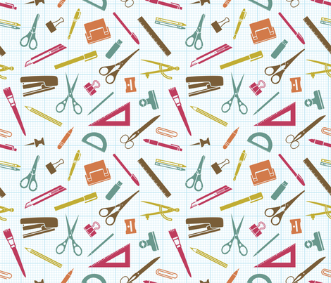 stationery shopping fabric by lisa_brown on Spoonflower - custom fabric