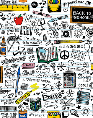 Doodled School Supplies || doodles graffiti children math science 80s pen pencil drawings notebook paper kids
