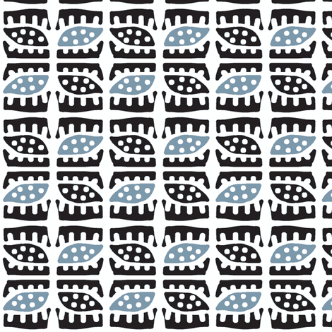 Dotty Spiky Pod (black & blue) fabric by pattyryboltdesigns on Spoonflower - custom fabric