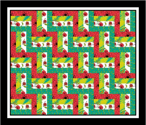 Rain_fence_1b_triple_border fabric by khowardquilts on Spoonflower - custom fabric