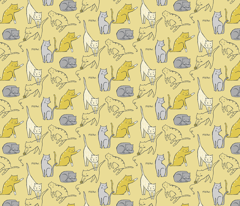 Meow Mixer (Wheat) fabric by leanne on Spoonflower - custom fabric