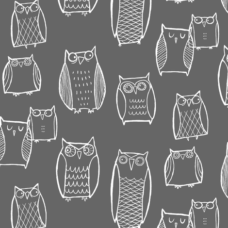 (Little) Night Owl Gray/White fabric by leanne on Spoonflower - custom fabric