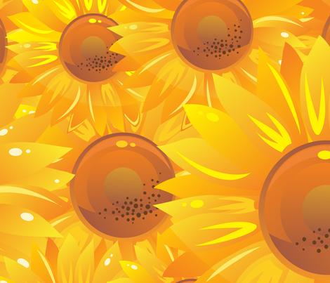 sunflowers seamless pattern fabric by anastasiia-ku on Spoonflower - custom fabric