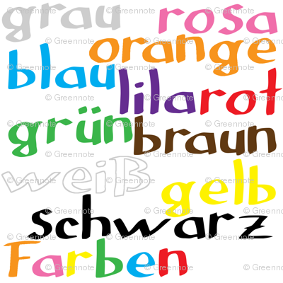 German colour words fabric greennote spoonflower