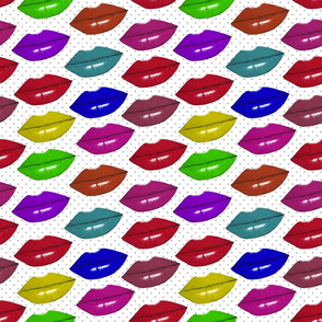 kiss kiss polka dot on white