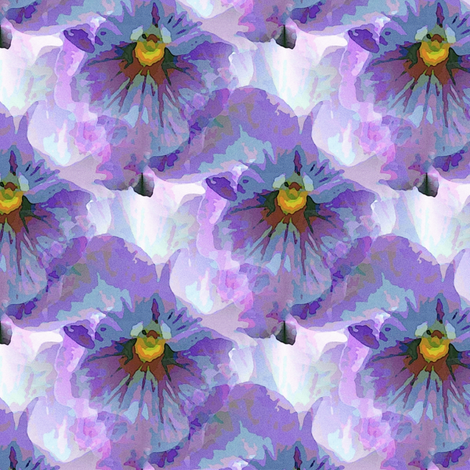 Blue violet pansy (m) fabric by vib on Spoonflower - custom fabric