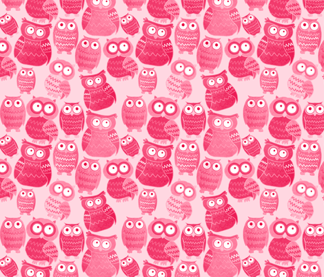 Pink Owls fabric by lusykoror on Spoonflower - custom fabric