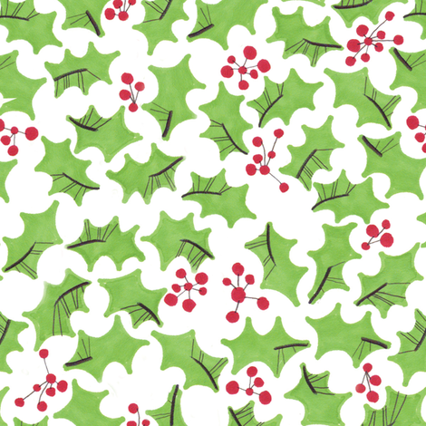 Holly & Berries fabric by jo_clark on Spoonflower - custom fabric