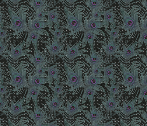 dark teal peacock feather fabric by kociara on Spoonflower - custom fabric