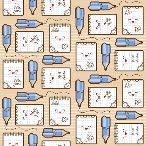 love notes beige fabric by woodmouse&bobbit on Spoonflower - custom fabric