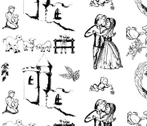 Black Toile by Kristie Hubler fabric by fabricatedframes on Spoonflower - custom fabric