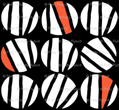 Striped Dot (black, vermillion & white)