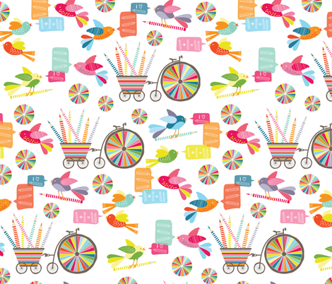 Coloured Pencil Love fabric by kayajoy on Spoonflower - custom fabric