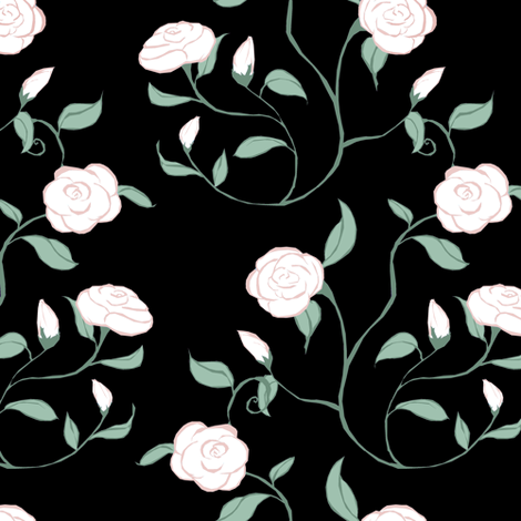 Mothers Day Roses on Black fabric by pond_ripple on Spoonflower - custom fabric