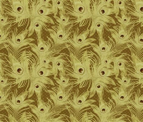 peacock feathers gold fabric by kociara on Spoonflower - custom fabric