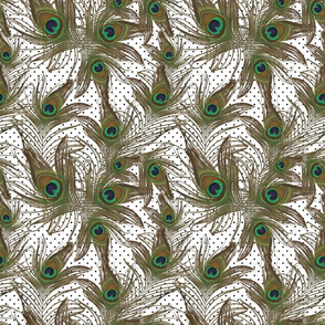 peacock feathers polka dots