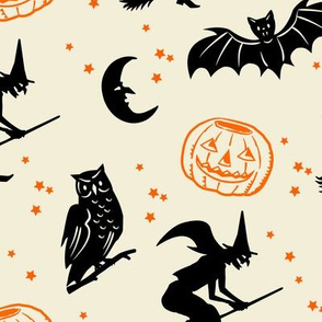 Bats and Jacks ~ Black and Orange on Cream