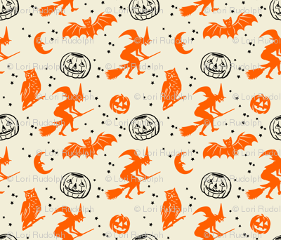 Bats and Jacks ~ Orange and Black on Cream