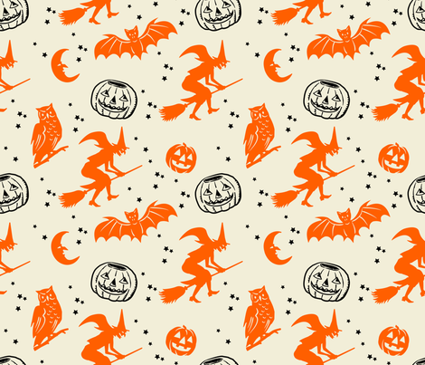 Bats and Jacks ~ Orange and Black on Cream fabric by retrorudolphs on Spoonflower - custom fabric