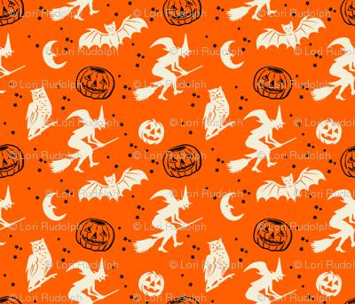 Bats and Jacks ~ Black and Cream on Orange