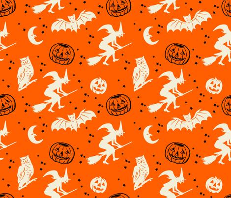 Bats and Jacks ~ Black and Cream on Orange fabric by retrorudolphs on Spoonflower - custom fabric