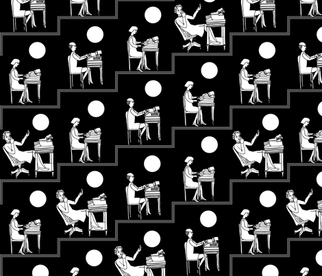 typist - black fabric by gingerme on Spoonflower - custom fabric