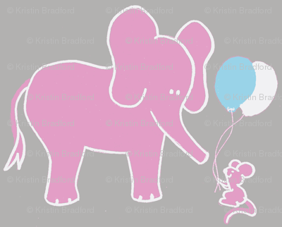 Let's be Friends Elephant and Mouse in Pink Aqua Gray