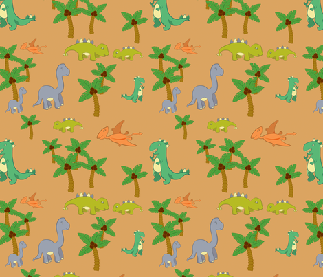 Dinosaurs in the Wild Medium Scale fabric by jubilli on Spoonflower - custom fabric