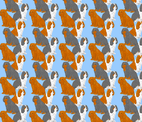 Sitting Cavaliers - blue fabric by rusticcorgi on Spoonflower - custom fabric
