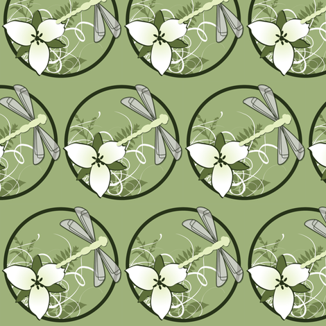Trillium and Dragonfly fabric by risarocksit on Spoonflower - custom fabric