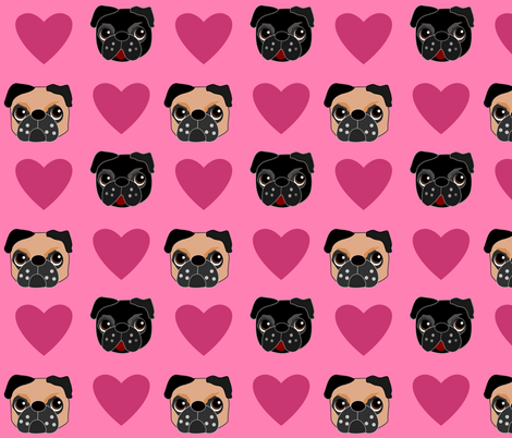 Pug Love  fabric by missyq on Spoonflower - custom fabric