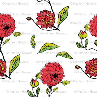 red dahlias white